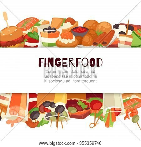 Fingerfood With Shrimps, Fish, Olives And Green Vegetables Appetizer, Canapes, Mini Burgers, Cartoon