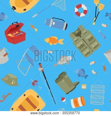 Fishing Equipment With Fishing Rod, Hooks, Bait, Fish And Boat, Fisher Tools Seamless Pattern Vector