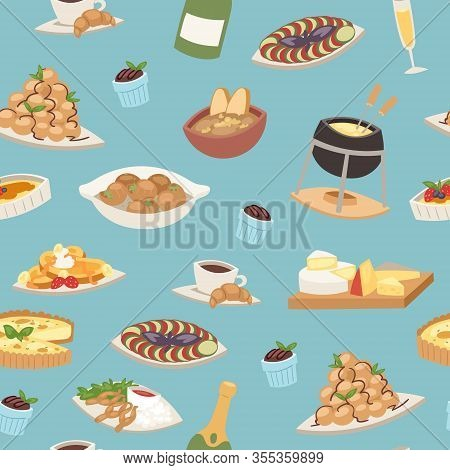 French Cuisine Seamless Pattern, National Menu Of France Food For Restaurant Vector Illustration. Fr