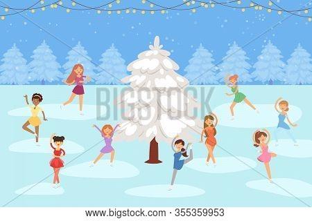 Girls Figure Skating On Ice Outdoor Round Snowy Fir Tree Winter Season Cartoon Vector Illustration.