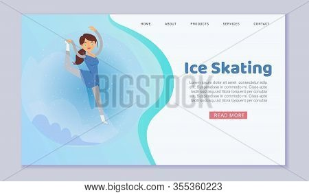 Figure Skating Web Template On Ice Winter Season With Girl Prefessional Skater Cartoon Vector Illust