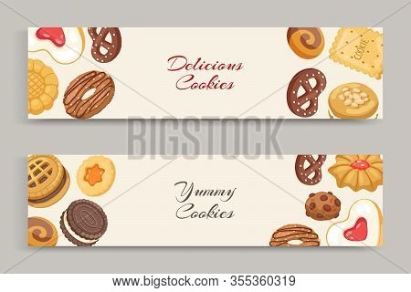 Cookies With Jam, Gingerbread, Chocolate Chip Yammy Cookie, Homemade Biscuit Vector Illustration Ban