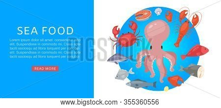 Sea Food Market With Tuna, Salmon, Clams, Crab, Lobster Cartoon Vector Illustration. Seafood And Fre