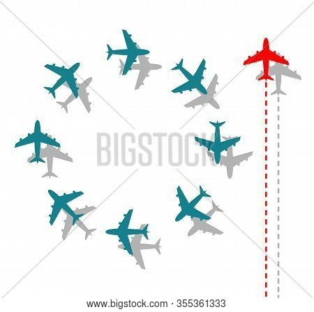 Think Different Business Concept Illustration, Red Airplane Changing Direction . New Idea, Change, T