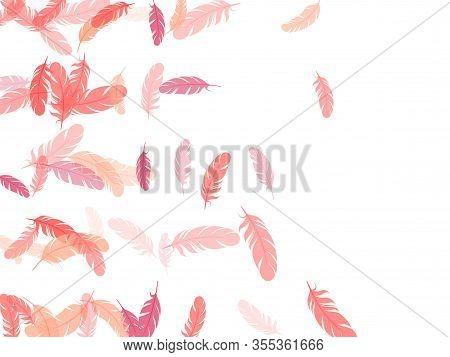 Paradise Pink Flamingo Feathers Vector Background. Wildlife Nature Isolated Plumage. Easy Plumelet E