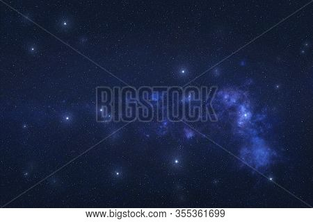 Pavo Constellation In Outer Space. Peacock Constellation Stars On The Night Sky. Elements Of This Im