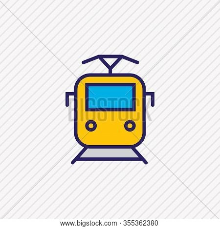 Vector Illustration Of Suburban Train Icon Colored Line. Beautiful Transportation Element Also Can B