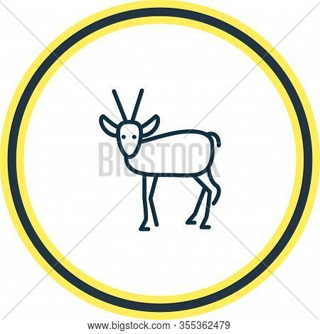 Vector Illustration Of Antelope Icon Line. Beautiful Zoo Element Also Can Be Used As Gazelle Icon El