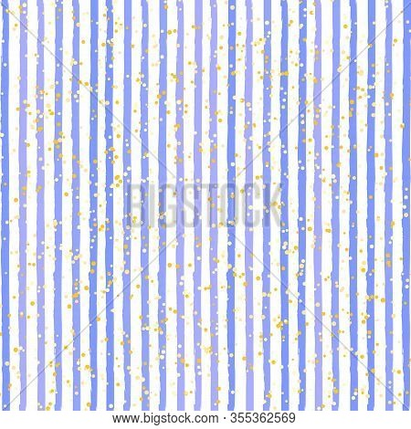 Watercolor Striped Background. Stripes Pattern With Hand Painted Brush Strokes. Abstract Colorful Li