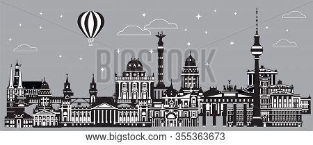 Panoramic Vector Travel Illustration Of Berlin Skyline, Germany. Monochrome Isolated Illustration. B