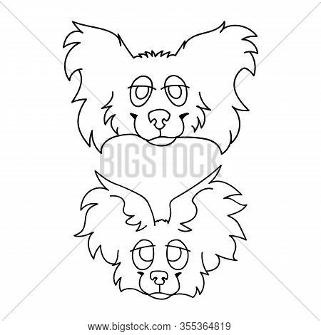 Cute Cartoon Papillon Dog And Puppy Face Monochrome Lineart Vector Clipart. Pedigree Kennel Puppy Br