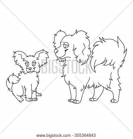 Cute Cartoon Papillon Dog And Puppy Monochrome Lineart Vector Clipart. Pedigree Kennel Puppy Breed F