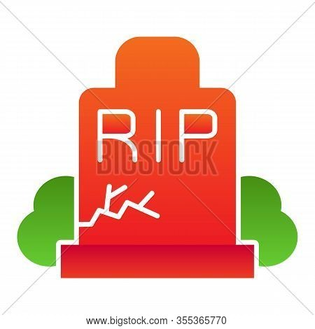 Gravestone Flat Icon. Grave, Funeral Gravestone With Rip Sign And Crack. Halloween Party Vector Desi