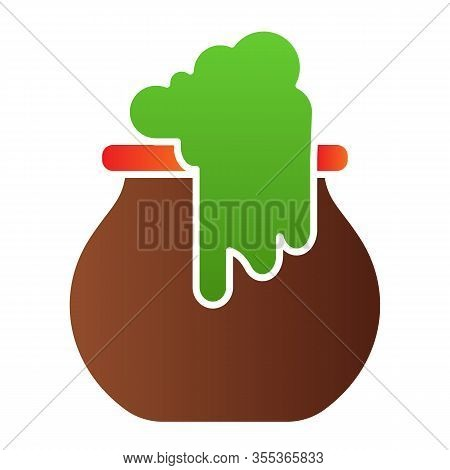 Boiling Cauldron Flat Icon. Reeky Witch Pot, Boiled Cattle. Halloween Party Vector Design Concept, G