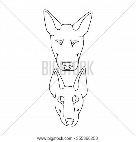 Cute Cartoon Bull Terrier Dog And Puppy Faces Breed Monochrome Lineart Vector Clipart. Pedigree Kenn