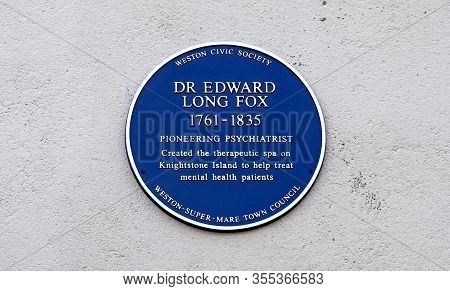 Weston-super-mare, Uk - November 13, 2018: A Blue Plaque Commemorating Pioneering Psychiatrist Dr Ed