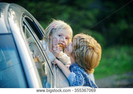 Little Boy Say Good Bye With Little Girl. Bye Bye. Cute Children Saying Goodbye Before Car Travel. G