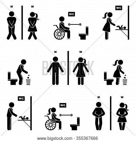 Toilet Icon Stick Figure Man And Woman Symbol Silhouette Pictogram Vector Illustration Set. Funny Ur
