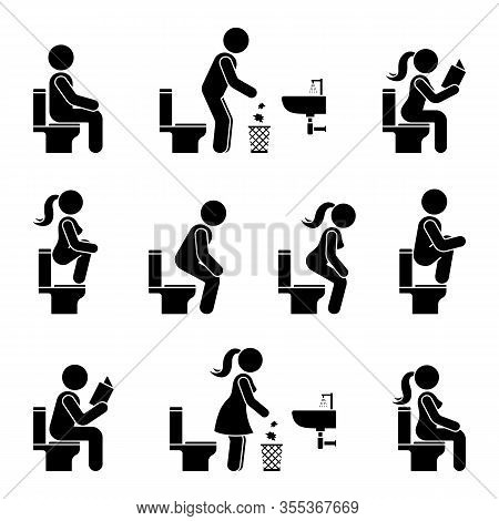 Toilet Icon Stick Figure Man And Woman Symbol Silhouette Pictogram Vector Illustration Set. Sitting,