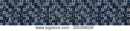 Indigo Blue Heart Mosaic Vector Border Seamless Pattern. Hand Drawn Daisy Dot Valentines Love Banner