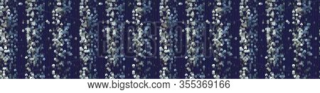 Classic Blue Broken Stripe Vector Texture Seamless Border Pattern. Variegated Soft Blended Geo Dyed