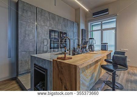 Saint Petersburg, Russia - February 14, 2020: Luxury And Stylish Exclusive Kitchen Interior Loft Sty