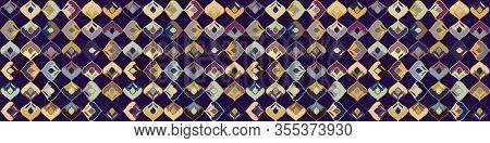 Dark Stylized Leaf Mosaic Vector Seamless Border Pattern. Hand Drawn Art Deco Style Geometric Square