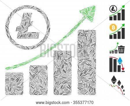 Dash Mosaic Based On Litecoin Growing Graph Trend Icon. Mosaic Vector Litecoin Growing Graph Trend I