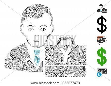 Dash Mosaic Based On Yuan Accounter Icon. Mosaic Vector Yuan Accounter Is Composed With Random Dash