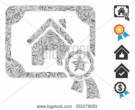 Line Mosaic Based On Realty Certification Icon. Mosaic Vector Realty Certification Is Formed With Ra