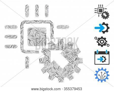 Hatch Mosaic Based On Hitech Processor And Gear Integration Icon. Mosaic Vector Hitech Processor And