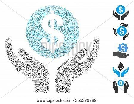 Dash Mosaic Based On Financial Maintenance Hands Icon. Mosaic Vector Financial Maintenance Hands Is