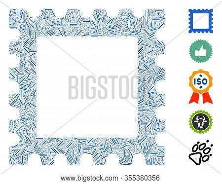 Line Mosaic Based On Postage Stamp Icon. Mosaic Vector Postage Stamp Is Composed With Scattered Line