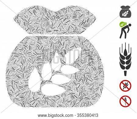 Dash Mosaic Based On Grain Harvest Sack Icon. Mosaic Vector Grain Harvest Sack Is Designed With Scat