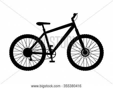 Silhouette Mountain Bike. Vector Illustration Of Black Logo Icon Mountain Bike Isolated On A White B