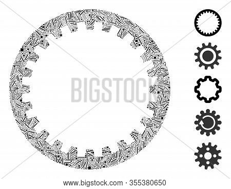 Line Mosaic Based On Annular Gear Icon. Mosaic Vector Annular Gear Is Created With Random Hatch Spot