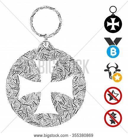 Dash Mosaic Based On Maltese Cross Medal Icon. Mosaic Vector Maltese Cross Medal Is Designed With Sc