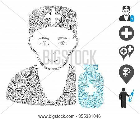 Line Mosaic Based On Apothecary Doctor Icon. Mosaic Vector Apothecary Doctor Is Formed With Scattere