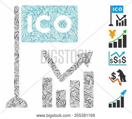 Dash Mosaic Based On Ico Trend Chart Icon. Mosaic Vector Ico Trend Chart Is Created With Randomized
