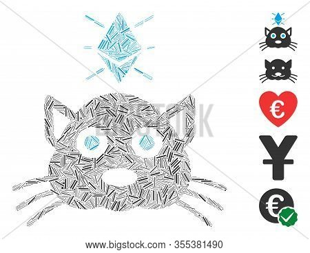 Hatch Mosaic Based On Ethereum Crypto Kitty Icon. Mosaic Vector Ethereum Crypto Kitty Is Formed With
