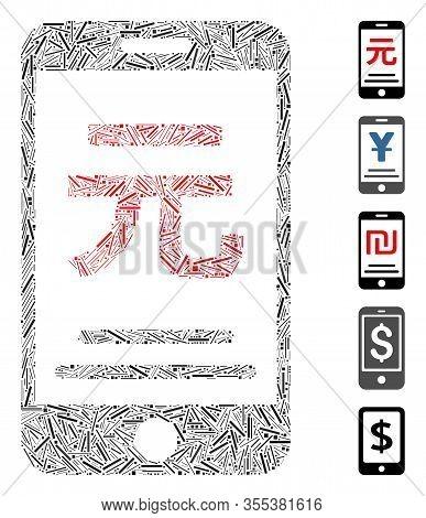 Dash Mosaic Based On Renminbi Yuan Mobile Payment Icon. Mosaic Vector Renminbi Yuan Mobile Payment I