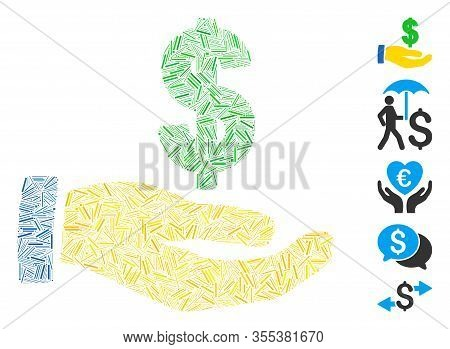Hatch Mosaic Based On Dollar Salary Icon. Mosaic Vector Dollar Salary Is Composed With Randomized Ha