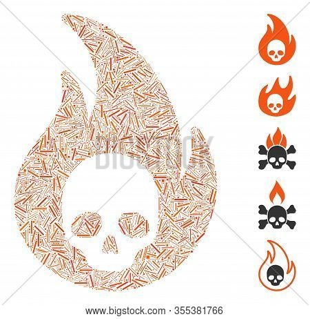 Hatch Mosaic Based On Hellfire Icon. Mosaic Vector Hellfire Is Created With Randomized Hatch Spots.