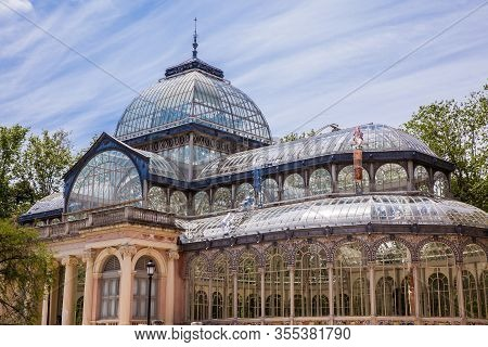 Detail Of The Beautiful Palacio De Cristal A Conservatory Located In El Retiro Park Built In 1887 In