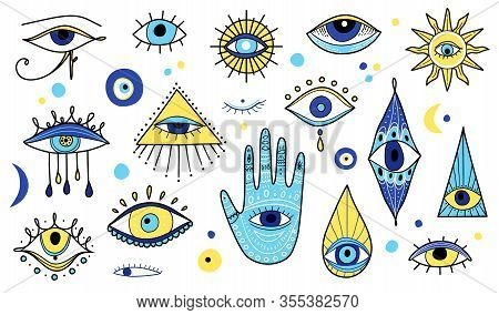 Evil Eye, Hamsa, Hand Of Fatima. Popular Amulets Illustrations In Blue Color. Eye Of Providence. Sac