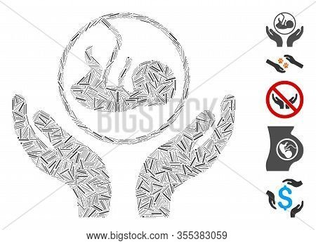 Hatch Mosaic Based On Embryo Care Hands Icon. Mosaic Vector Embryo Care Hands Is Created With Random