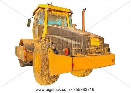 Work In Progress, Industrial Machine. Perspective View Of Yellow Steamroller Isolated On White Backg