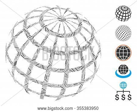 Hatch Mosaic Based On Abstract Sphere Grid Icon. Mosaic Vector Abstract Sphere Grid Is Formed With R