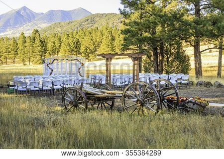 Beautiful Setting For An Outdoor Wedding In Flagstaff Arizona Featuring Forest, Meadows, An Old Wago