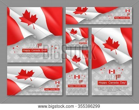 Happy Canada Day 1st Of July Banners Set. Celebrate Official Country Founding Day. Congratulation Te
